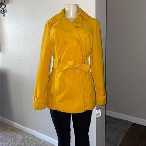 NWT Jou Jou Yellow Pea Coat with Tie